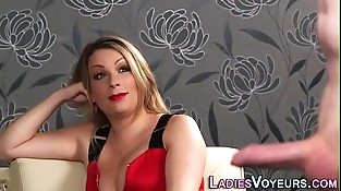 Glam clothed milf witnesses