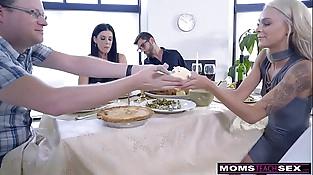 Mom Fucks Son &amp_ Licks Teen Creampie For Thanksgiving Treat