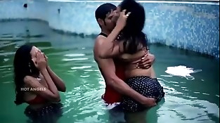 Husband Fucks his Wifey and Friend in Pool in Threesome