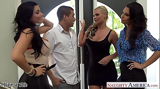 Wives Jessica Jaymes, Phoenix Marie and Romi Rain fuck in four way