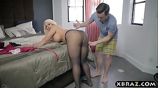 BBW stepmom is horny and wants a young dick in her big ass