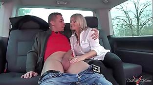 Stepmom get three young strangers dicks in crazy van rail