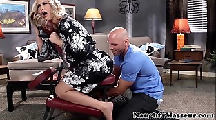 Massaged mummy Simone Sonay swallows cum