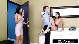 Wild Stepmom/Teen FFM 3Some At The Office - Isis Love, Ariana Marie