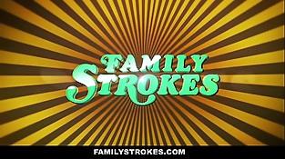 FamilyStrokes - Hot Milf Sucks Off Step-Son