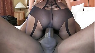 big black cock spread out beaver cowgirl style super sexy brunette wife in black underwear