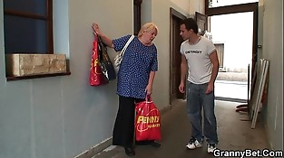 Old granny pleases an youthfull man