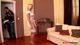 Blonde Mummy Kathia Nobili pouch slurped and fucked like a machine