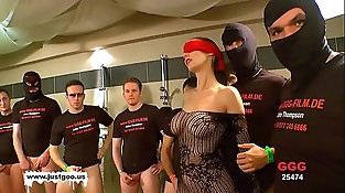 German Goo Girls - Blindfolded Mummy bukkake gang-fuck