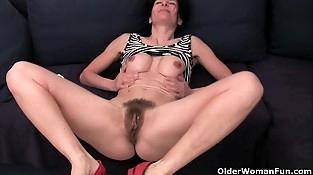 Older women soaking their cotton undies with pussy juice