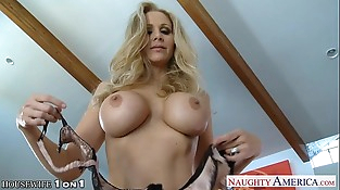 Blonde housewife Julia Ann gives butt cheeks in POV