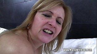 Youthful Stud Fucks His Mature Maid Catching Him With Porn