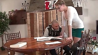 French teacher mummy hard buggered by her student and jizzed on body