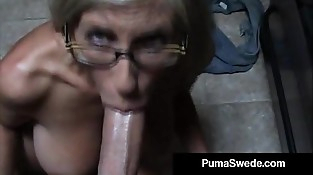 Euro Pornography Star Puma Swede Gets Milky Glasses After Deep-throat Job!