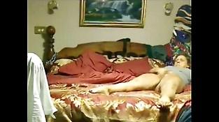 Orgasm of my mom masturbating caught by hidden web cam