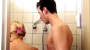 German Step-Mom help Son in Shower and Tempt to Fuck