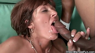 Mummies Desi Foxx and Dorothy unload a hard cock on their face