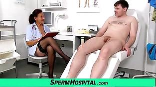 Old grandma doctor Linda stockings and youthfull patient handjob
