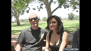 Hot brunette wife takes fat shaft