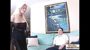 Horny blonde mummy fucks her boyfriends friend on the couch