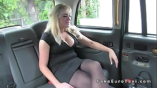 Big tits Milf assfuck finger-tickled in fake taxi